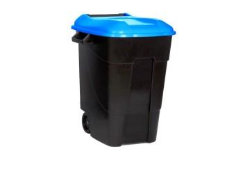 Contenedor bas. 100 lt c/rued tayg pl negro tapa azul tapa 4
