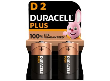 Pila alcalina lr20 1,5v d power plus duracell 2 pz