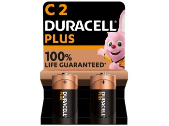 Pila alcalina lr14 1,5v c power plus duracell 2 pz