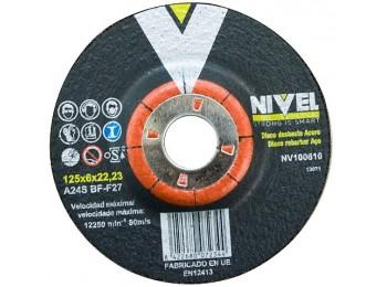 Disco desbaste metal 125x6x22 mm nivel