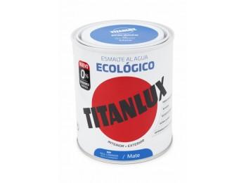Esmalte acril mate 750 ml az/lum al agua ecologico titanlux