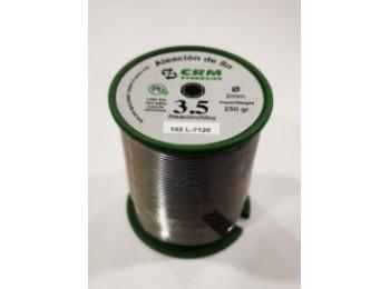 EstaÑo sold plata 250gr-2mm 3,5% aleacion 102 crm 0