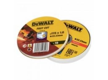 Disco corte inox 115x1,0x22,23mm fast cut dewalt 10 pz