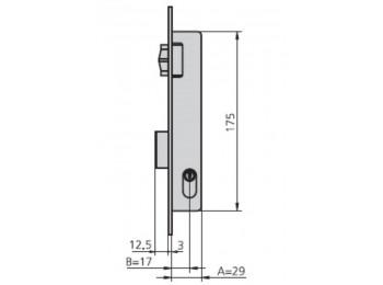 Cerradura met.emb. 24x17mm 1975v/0 niq rod/pal cvl