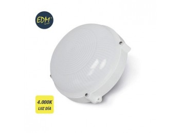 Aplique ilumin 12w 1080lm 4000k Ø20cm ip65 ext edm pl bl rdo