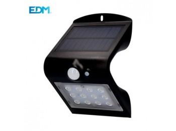 Aplique ilumin 1,5w 220lm solar edm pl ne recargable s/mov 3