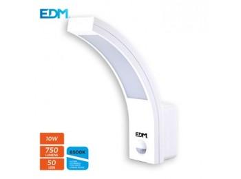 Aplique ilumin 10w 750lm 6400k ip54 ext edm pl bl con sensor