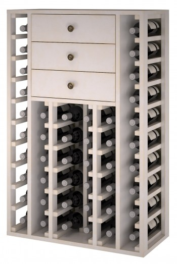 Expovinalia EW2510 botellero pino color blanco, 46 botellas, serie godello,