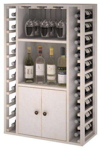 Expovinalia EW2521 botellero pino color blanco, 20 botellas, serie godello,