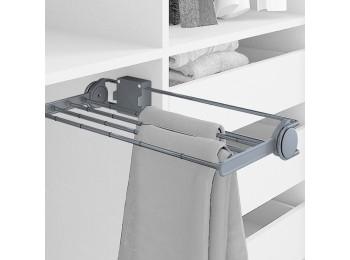 Emuca Pantalonero lateral extraible para armario, 460 mm, Acero y plástico, Gris metalizado