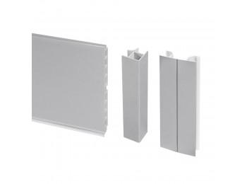 Emuca Kit de zócalos para cocina, con accesorios de unión, altura 100 mm, 4,7 m, plástico, anodizado satinado.
