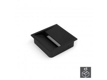 Emuca Pasacables mesa, cuadrado, 85 x 85 mm, para encastrar, Plástico, Negro, 5 ud.