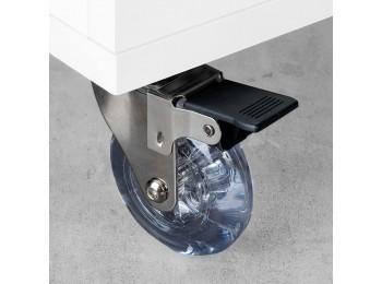 Emuca Ruedas con placa de montaje, D.50 mm, Acero y plástico, Transparente, 4 ud.