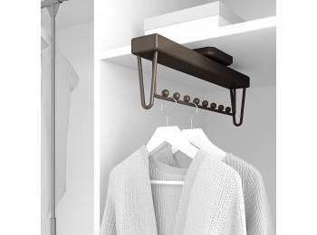 Emuca Colgador extraible para armario, 445 mm, cierre suave, Aluminio, color moka