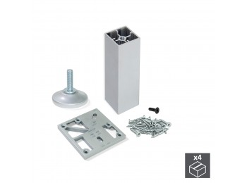 Emuca Kit pie nivelador para mueble, cuadrado, regulable 150-160 mm, Aluminio, Anodizado mate,  4 ud.