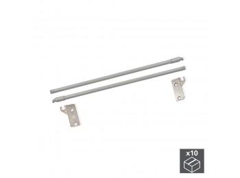 Emuca Juego barandillas para cajón Ultrabox, D. 10 mm, Prof. 350 mm, Acero, Gris metalizado, 10 ud.
