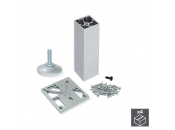 Emuca Kit pie nivelador para mueble, cuadrado, regulable 170-180 mm, Aluminio, Anodizado mate,  4 ud.