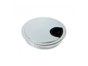 Emuca Tapa pasacables circular, D. 80 mm, para encastrar, Zamak, Cromado