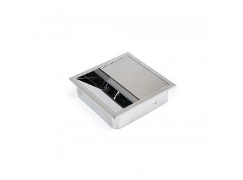 Emuca Pasacables mesa, cuadrado, 85 x 85 mm, para encastrar, Plástico, Cromado