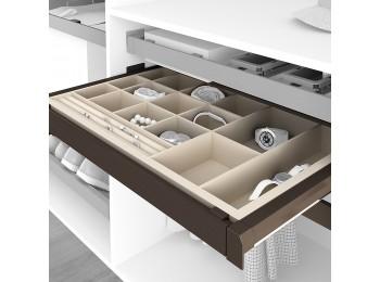Emuca Kit Joyero y Bastidor de guías, regulable, módulo de 600 mm, Acero y aluminio, color moka