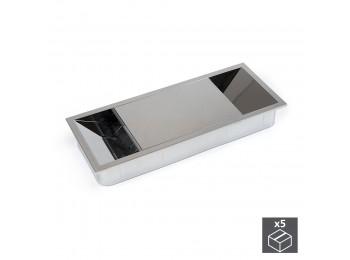 Emuca Pasacables mesa, rectangular, 152 x 61 mm, para encastrar, Plástico, Cromado, 5 ud.