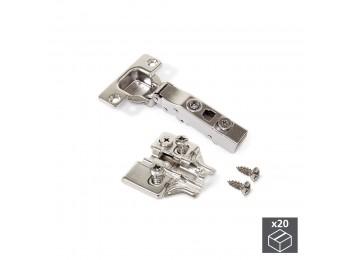 Emuca Bisagra de cazoleta, D. 35 mm, recta, cierre suave, apertura 100º, con suplemento Euro, 20 ud.