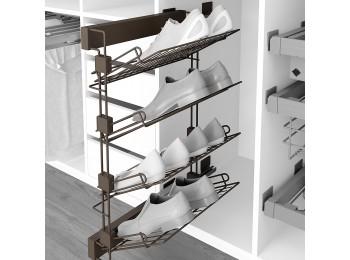 Emuca Zapatero lateral extraíble para interior de armario, montaje derecha, Acero, color moka