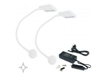 Emuca Aplique LED, cuadrado, brazo flexible, sensor táctil, 2 USB, Luz blanca natural, Plástico, Blanco + convertidor 50W, 2 ud.