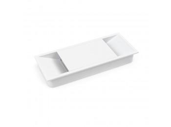 Emuca Pasacables mesa, rectangular, 152 x 61 mm, para encastrar, Plástico, Blanco
