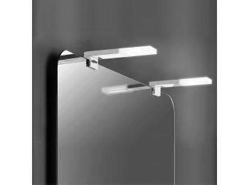 Emuca Aplique LED para espejo de baño, 40 mm, IP44, Luz blanca fría, Aluminio y plástico, Cromado