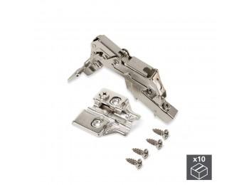 Emuca Bisagra de cazoleta, D. 35 mm, codo, cierre suave , apertura 165º, con suplemento, 10 ud.