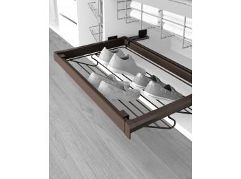Emuca Kit de Zapatero metálico y bastidor de guías, regulable, módulo de 900 mm, Acero y aluminio, color moka