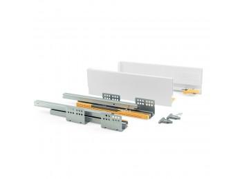 Emuca Kit cajón de cocina Concept, altura 105 mm, prof. 500 mm, cierre suave, Acero, Blanco