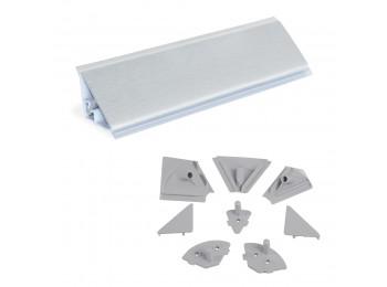 Emuca Copete triangular para cocina, con accesorios para instalación, 4,7 m, plástico, anodizado satinado.