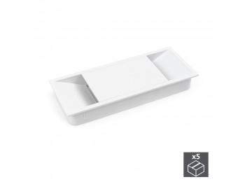 Emuca Pasacables mesa, rectangular, 152 x 61 mm, para encastrar, Plástico, Blanco, 5 ud.