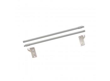 Emuca Juego Barandillas para cajón Ultrabox, D. 10 mm, Prof. 400 mm, Acero, Gris metalizado