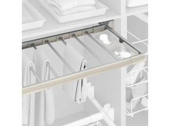 Emuca Pantalonero extraible, regulable, módulo de 900 mm, 7 varillas, Aluminio y Acero, Anodizado mate