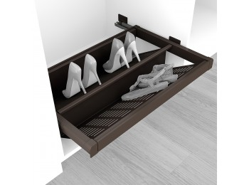Emuca Zapatero extraible para interior de armario, módulo de 800 mm, cierre suave, Acero, color moka