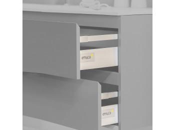 Emuca Kit cajón de cocina Vantage-Q, altura 141 mm, prof. 350 mm, con barandillas, cierre suave, Acero, Gris metalizado