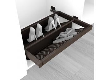 Emuca Zapatero extraible para interior de armario, módulo de 600 mm, cierre suave, Acero, color moka