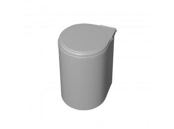 Emuca Contenedor de reciclaje, 13 L, fijación puerta, apertura tapa automatica, Plástico, Gris.