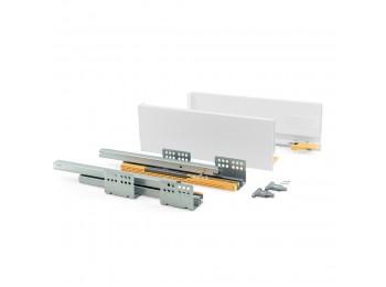 Emuca Kit cajón de cocina Concept, altura 138 mm, prof. 400 mm, cierre suave, Acero, Blanco