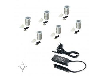 Emuca Luz LED, D. 18 mm, empotrables, convertidor 15 W, Luz blanca natural, Aluminio, Anodizado mate, 6 ud.