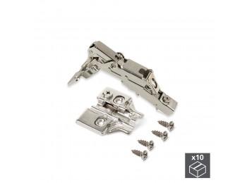Emuca Bisagra de cazoleta, D. 35 mm, recta, cierre suave , apertura 165º, con suplemento, 10 ud.