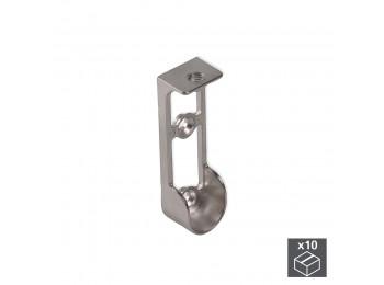 Emuca Soporte para barra de armario, montaje superior, Zamak, Gris metalizado, 10 ud.