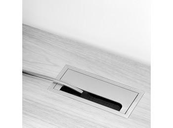 Emuca Pasacables mesa, rectangular, 158 x 80 mm, para encastrar, Aluminio, Anodizado mate, 5 ud.