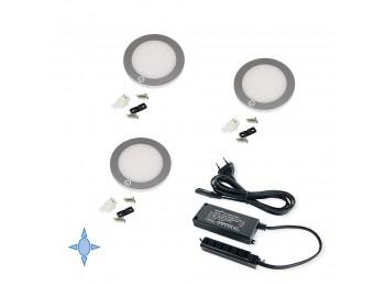 Emuca Luz LED, D. 68 mm, diseño extrafino, convertidor 15 W, Luz blanca fría, Aluminio y  plástico, Gris metalizado, 3 ud.