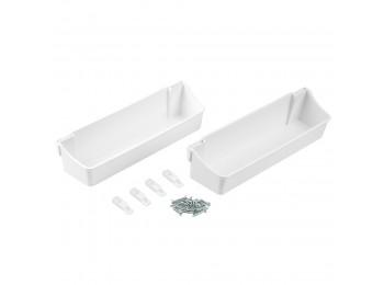 Emuca Bandejas auxiliares para fijar puerta armario, 350 mm, Plástico, Blanco, 2 ud.
