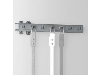 Emuca Porta cinturones lateral extraible para armario, 447 mm, Aluminio y plástico, Anodizado mate