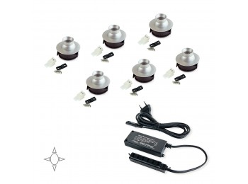 Emuca Luz LED, D. 33 mm, orientable, convertidor 15 W, Luz blanca natural, Aluminio, Anodizado mate, 6 ud.